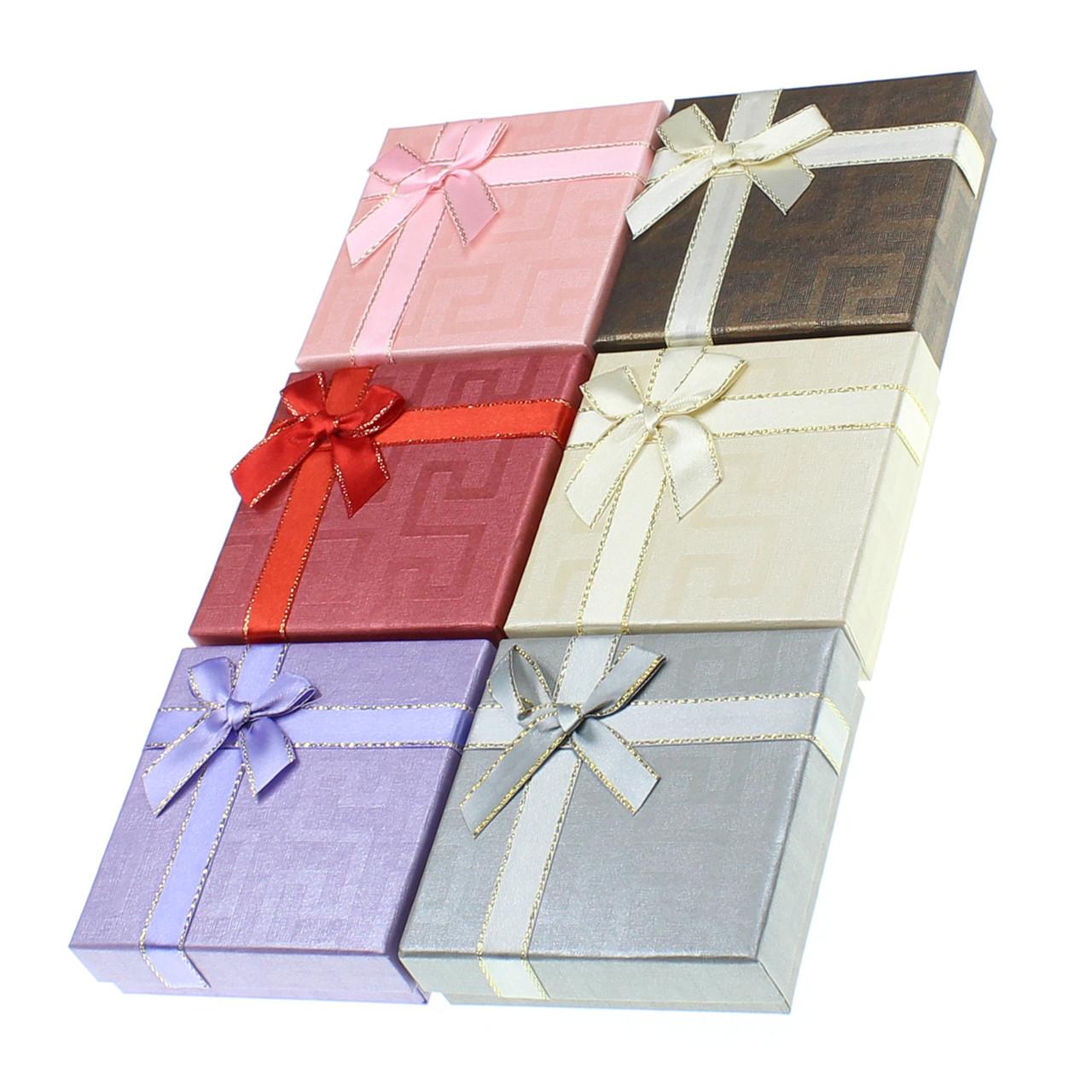 Подарочная коробочка под набор Геометрия с бантом 9х9х2,5 см, микс цветов