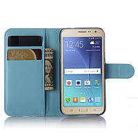 Чехол-книжка Litchie Wallet для Samsung J320 Galaxy J3 2016 Голубой, фото 1