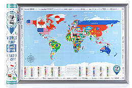 Скретч Карта Discovery Map World Silver в тубусе украинский язык