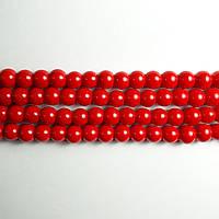 Бусины Жемчуг Стеклянные, Перламутровые, Круглые, 8 мм ~110шт/нить, Цвет: Красный
