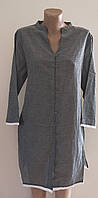Женская летняя Туника Светло серая. Удленненная рубашка. River island. Хлопок. Индия