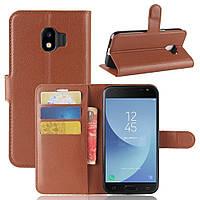 Чехол-книжка Litchie Wallet для Samsung J250 Galaxy J2 2018 Коричневый, фото 1