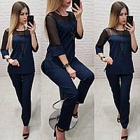 Стильний жіночий костюм, арт 153,є батал, колір бордо + підвіска, фото 1