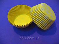 Тарталетки (капсулы) бумажные для кексов, капкейков Желтые в белый горох