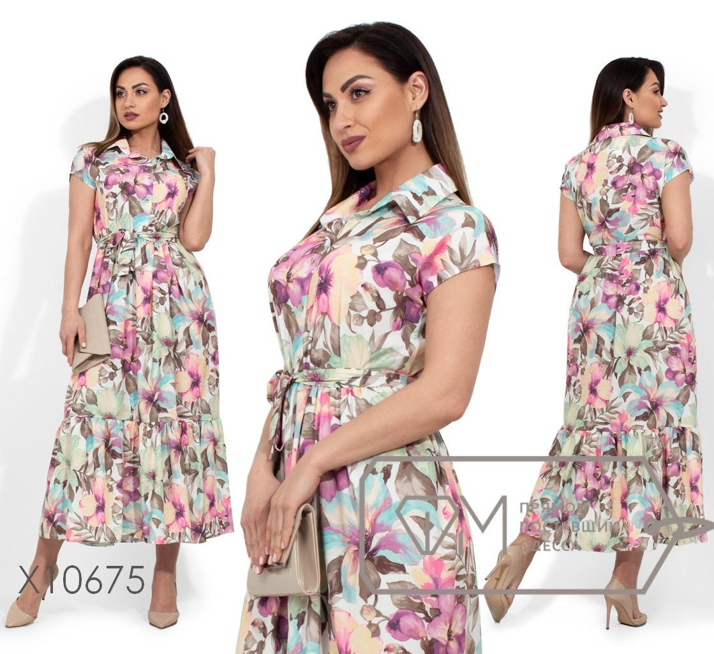 50b59efca3a Длинное Платье-рубашка в Больших Размерах на Лето с Принтом 1BR1662 ...