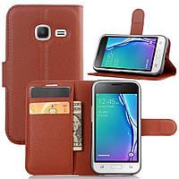 Чехол-книжка Litchie Wallet для Samsung J105 Galaxy J1 Mini Коричневый, фото 1