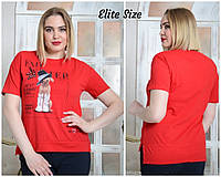 Прямая женская летняя футболка в больших размерах 6BR1687, фото 1