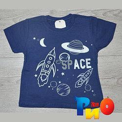 """Летняя футболка """"Space"""", трикотаж, для мальчика (0-1;1-2;2-3;3-4 лет), 4 ед.в уп."""