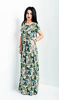 Модное женское платье в пол с поясом