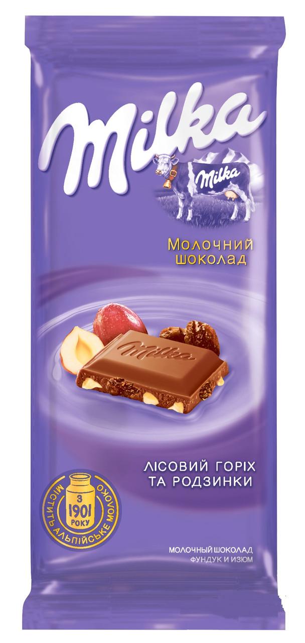 Шоколад молчный Milka с цельным орехом 90 гр х 28 шт в упаковке
