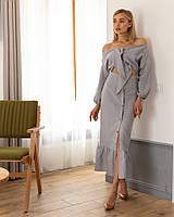 Костюм женский красивый топ и юбка миди на пуговицах лен Кdi1045, фото 1