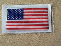 Наклейка s силиконовая флаг 50х30х0,8мм США горизонтальные красные и белые полосы звезды на синем в на авто