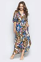 Длинное платье из шифона, цветочный принт