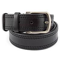 Ремень мужской кожаный под джинсы простроченный черный KB-40-02 (130 см)