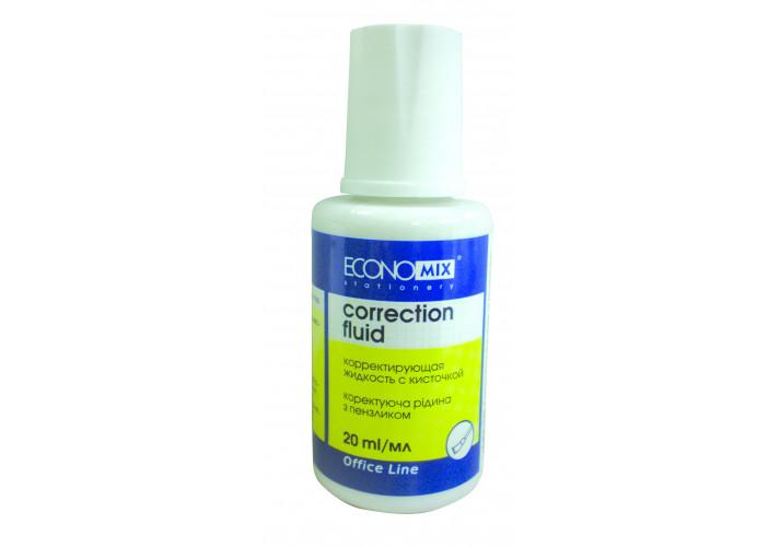 Корректор-жидкость с кисточкой Economix,химическая основа 20 мл.( E41305 )