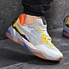 Мужские кроссовки демисезонные Puma 7740 серые с желтым