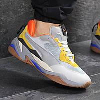 Мужские кроссовки демисезонные Puma 7740 серые с желтым, фото 1