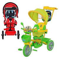 Велосипед ET A18-9-2 (три колеса, метал., 2 цв:красн/зел,муз(12мелодий),свет,колясочн.ручка,рюкзак)