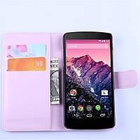 Чехол-книжка Litchie Wallet для LG Nexus 5 Светло-розовый