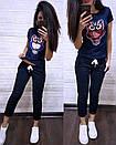 Летний повседневный костюм с футболкой с пайеткой 74so633, фото 2
