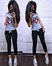 Летний повседневный костюм с футболкой с пайеткой 74so633, фото 4