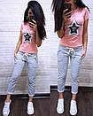Женский летний повседневный костюм с футболкой с пайеткой 74so634, фото 6
