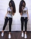 Женский летний повседневный костюм с футболкой с пайеткой 74so634, фото 7