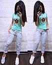 Женский летний повседневный костюм с футболкой с пайеткой 74so634, фото 9