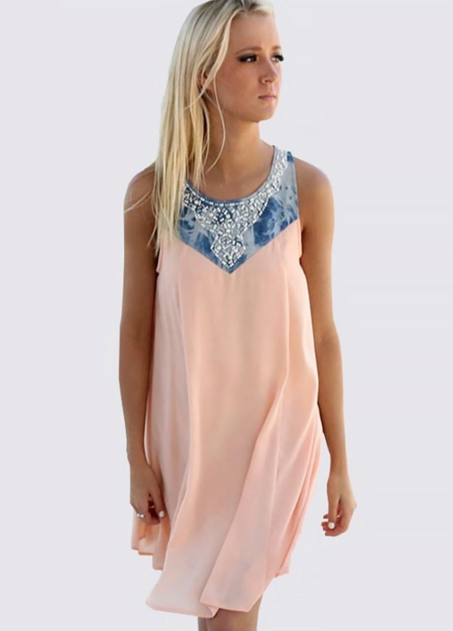 6bfa734e972 Женское летнее платье персик