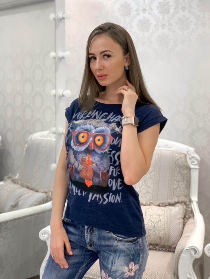 Легкая женская футболка на лето с рисунком совы 33ma205