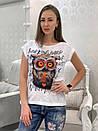 Легкая женская футболка на лето с рисунком совы 33ma205, фото 2