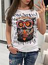 Легкая женская футболка на лето с рисунком совы 33ma205, фото 3