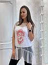 Женская летняя футболка-туника с сеткой 33ma206, фото 2