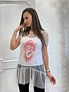 Женская летняя футболка-туника с сеткой 33ma206, фото 3