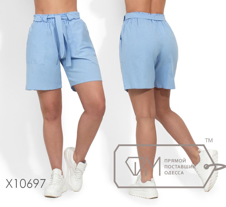 Льняные женские шорты в больших размерах на средней посадке 1ba1665