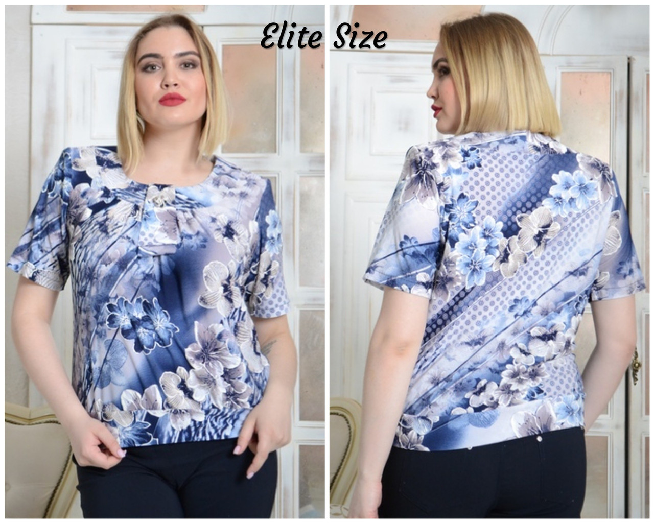 Принтованная летняя блуза в больших размерах 6ba1684