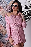 Рубашка женская из льна на пуговицах с удлиненным топом в комплекте (К27171)