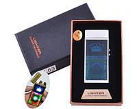 Электроимпульсная зажигалка в подарочной упаковке Lighter HL-53 Silver (Двойная молния, USB, Casino)