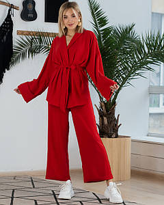 Женский брючный костюм красный SM, LXL