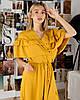 Горчичное шифоновое платье с борками SM, LXL, фото 2