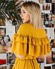 Горчичное шифоновое платье с борками SM, LXL, фото 5