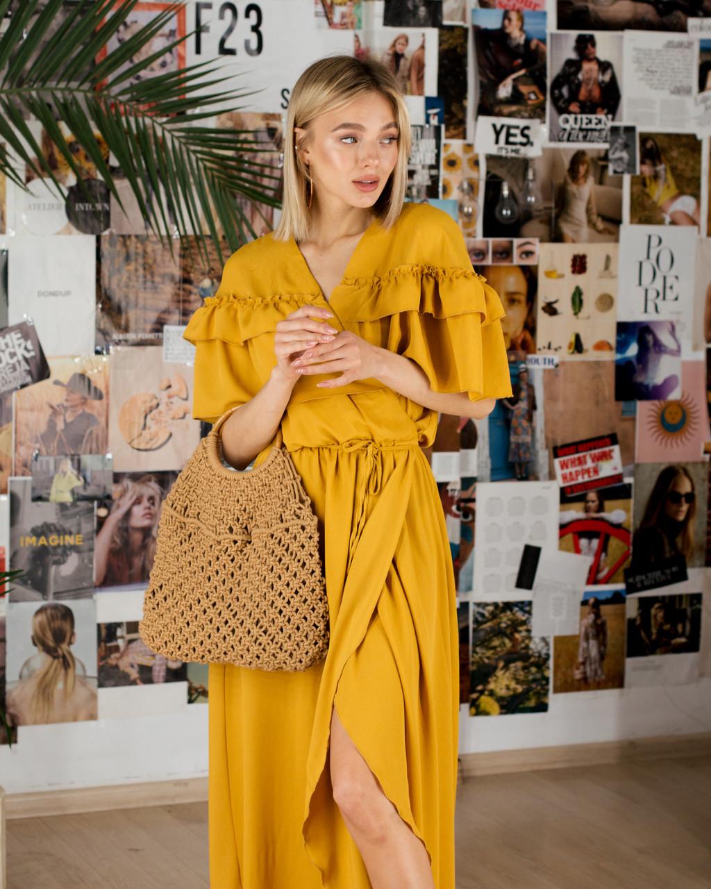 Горчичное шифоновое платье с борками SM, LXL