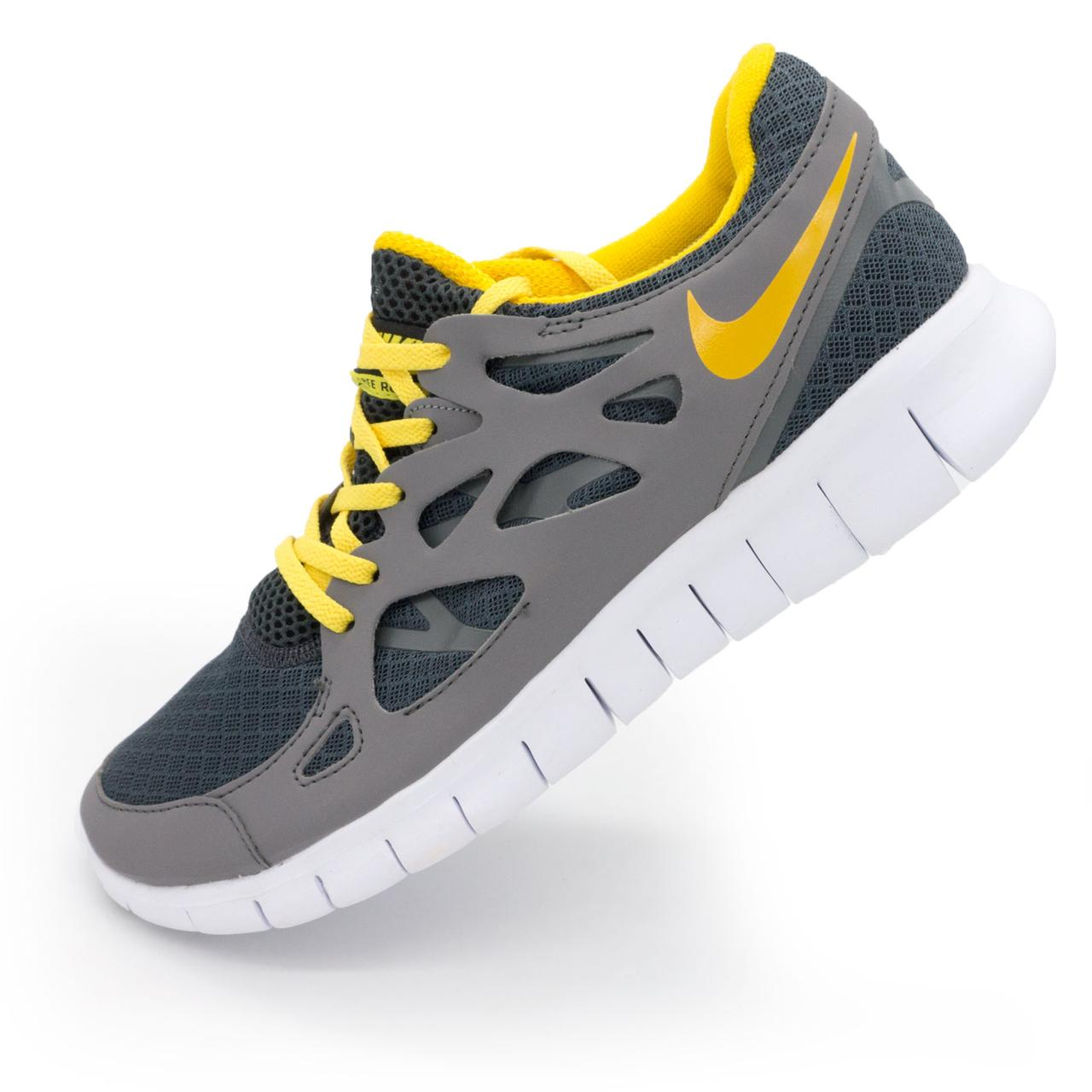 37f31c11 Мужские Кроссовки для Бега Nike Free Run 2 Найк Фри Ран, Серо-желтые ...