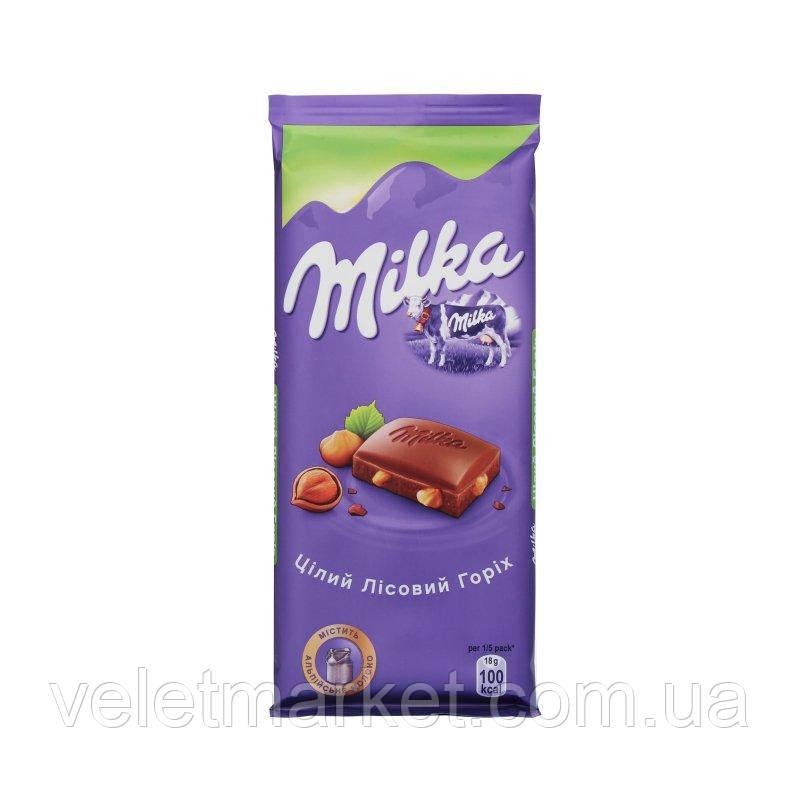 Шоколад Milka с целыми лесными орехами 90 г