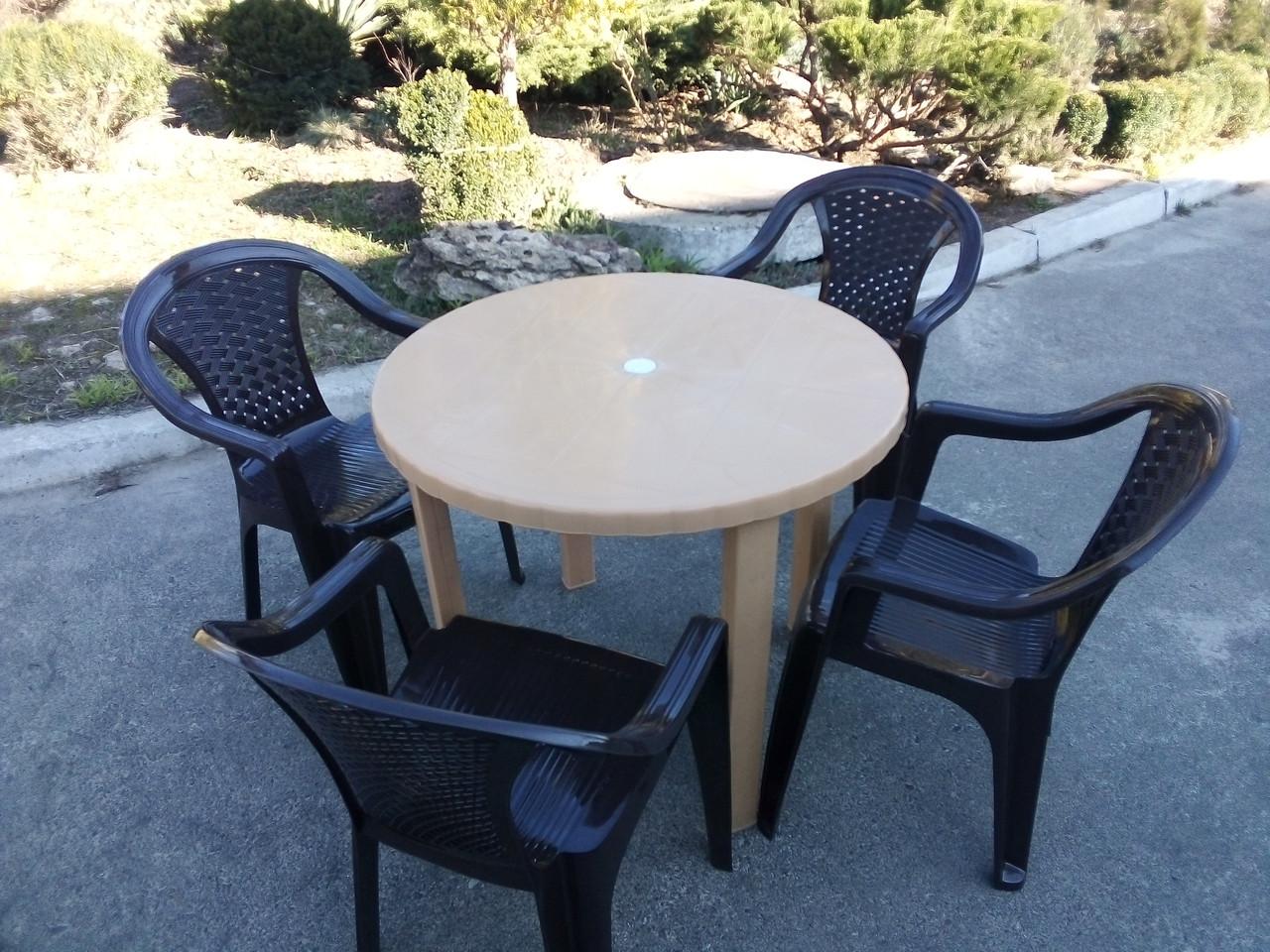 Комплект пластиковой мебели! Стол + 4 кресла!