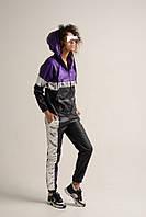 Женский спортивный костюм из плащевки с неоновыми вставками 71rt626