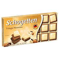 Шоколад Schogetten Trilogia белый с грильяжем и фундуком/молочный с джандуей и фундуком/альпийский молочный 100 г