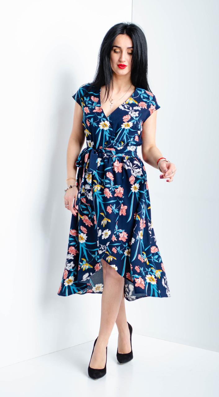 Женское платье на запах с цветочным принтом