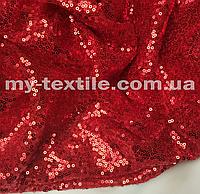 Пайеточная ткань на сетке Красный