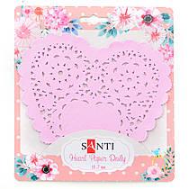 Набор салфеток ажурных в форме сердца Santi диаметр 12.7 см /12 штук/ розовые